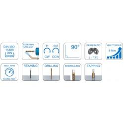 Angle Head 90º BT PLUS BT40 ERP Output ER11 (1-7) C=65 160 Slimline Size 1 Standard Loc'n Pin & Interlock