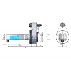 Angle Head 90º BT PLUS BT40 ERP Angle Head 90° Output ER 8 (1-5) C=65 160 Slimline Size 2 Standard Loc'n Pin & Interlock