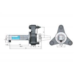 Angle Head 90º BT PLUS BT40 ERP Angle Head 90° Output ER 8 (1-5) C=65 160 Slimline Size 2 3 Point Loc'n & Torque Arm